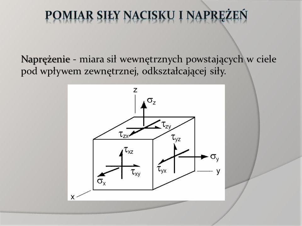 Naprężenie Naprężenie - miara sił wewnętrznych powstających w ciele pod wpływem zewnętrznej, odkształcającej siły.