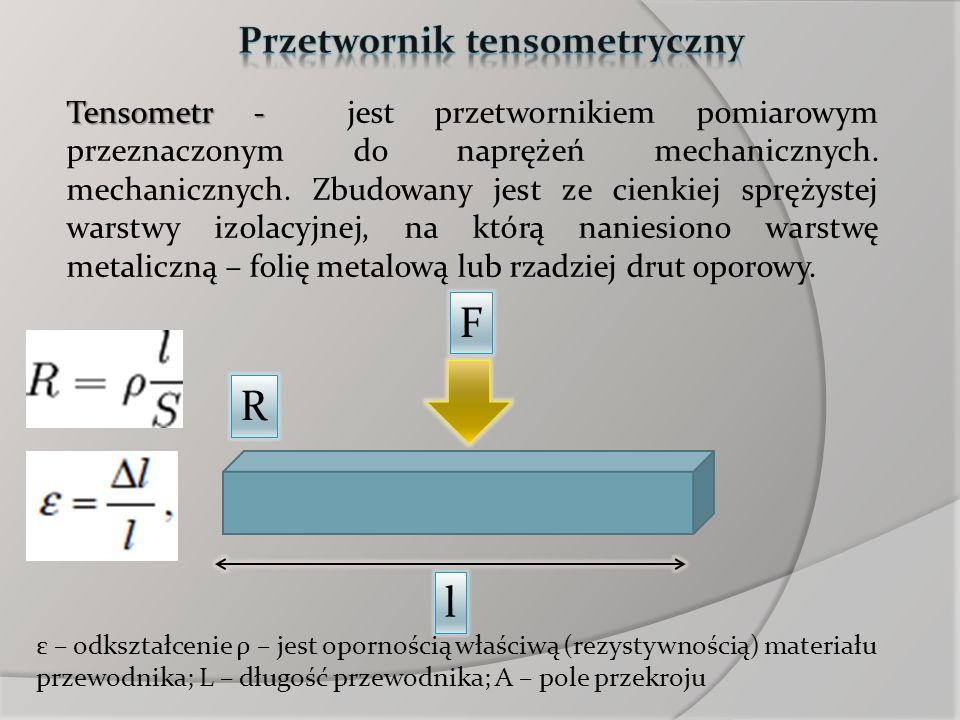Tensometr - Tensometr - jest przetwornikiem pomiarowym przeznaczonym do naprężeń mechanicznych. mechanicznych. Zbudowany jest ze cienkiej sprężystej w