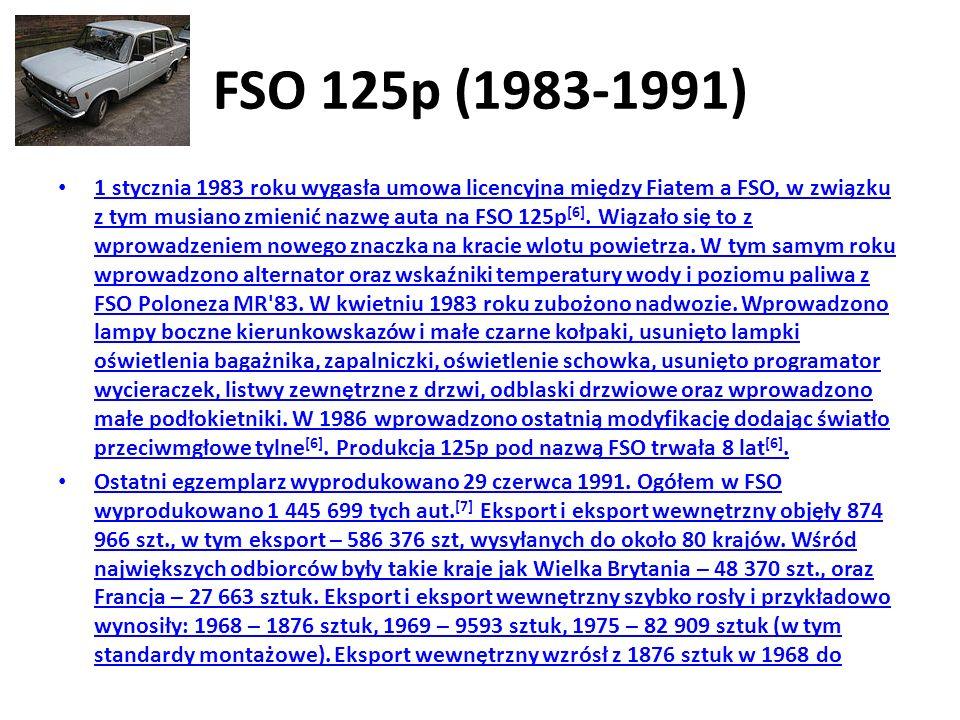 FSO 125p (1983-1991) 1 stycznia 1983 roku wygasła umowa licencyjna między Fiatem a FSO, w związku z tym musiano zmienić nazwę auta na FSO 125p [6].
