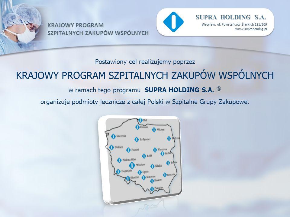 KRAJOWY PROGRAM SZPITALNYCH ZAKUPÓW WSPÓLNYCH SUPRA HOLDING S.A. Wrocław, ul. Powstańców Śląskich 121/209 www.supraholding.pl Postawiony cel realizuje
