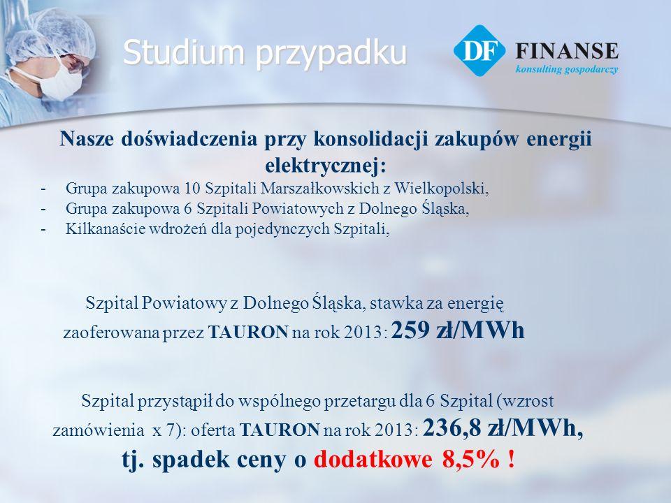 Studium przypadku Nasze doświadczenia przy konsolidacji zakupów energii elektrycznej: -Grupa zakupowa 10 Szpitali Marszałkowskich z Wielkopolski, -Gru