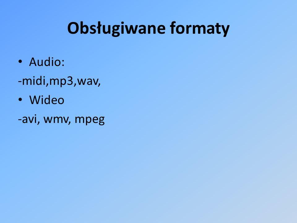 Obsługiwane formaty Audio: -midi,mp3,wav, Wideo -avi, wmv, mpeg