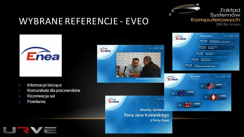 WYBRANE REFERENCJE - EVEO Informacje bieżące Komunikaty dla pracowników Rezerwacja sal Powitania