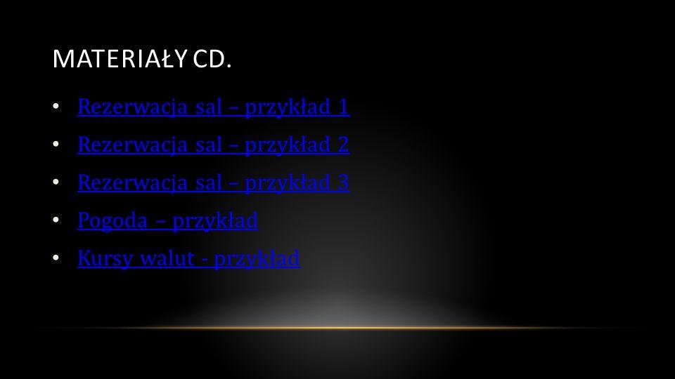 MATERIAŁY CD. Rezerwacja sal – przykład 1 Rezerwacja sal – przykład 2 Rezerwacja sal – przykład 3 Pogoda – przykład Kursy walut - przykład