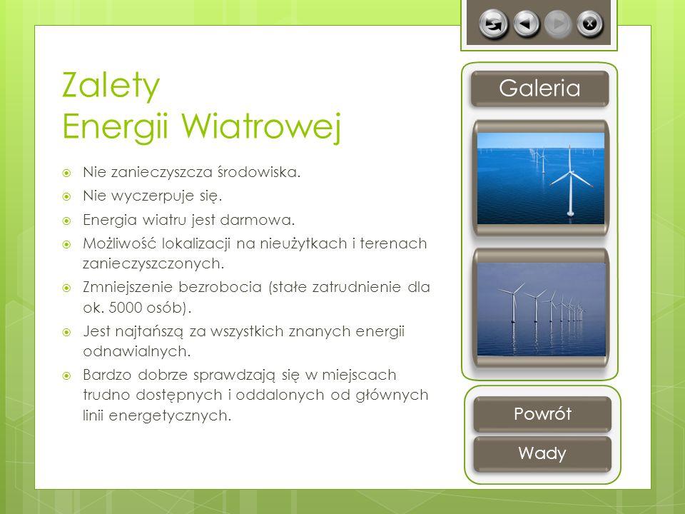 Zalety Energii Wiatrowej Nie zanieczyszcza środowiska. Nie wyczerpuje się. Energia wiatru jest darmowa. Możliwość lokalizacji na nieużytkach i terenac