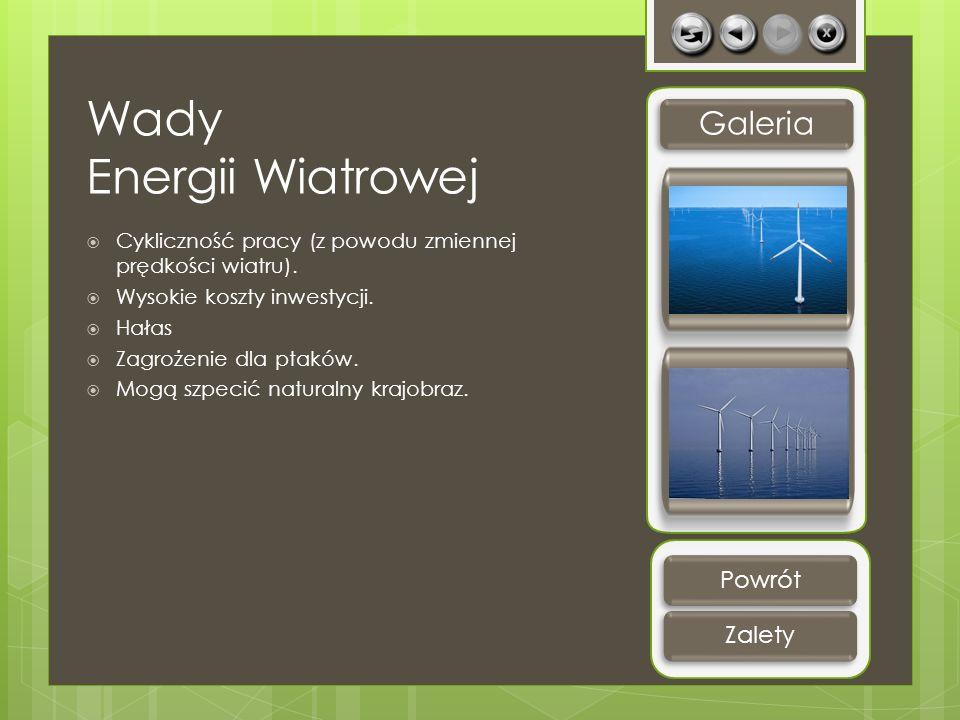 Wady Energii Wiatrowej Cykliczność pracy (z powodu zmiennej prędkości wiatru). Wysokie koszty inwestycji. Hałas Zagrożenie dla ptaków. Mogą szpecić na