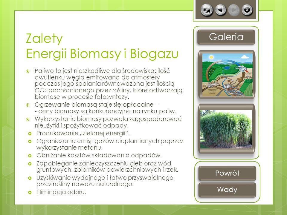 Zalety Energii Biomasy i Biogazu Paliwo to jest nieszkodliwe dla środowiska: ilość dwutlenku węgla emitowana do atmosfery podczas jego spalania równow