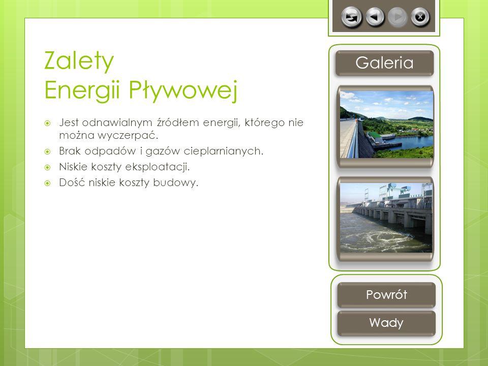 Zalety Energii Pływowej Jest odnawialnym źródłem energii, którego nie można wyczerpać. Brak odpadów i gazów cieplarnianych. Niskie koszty eksploatacji