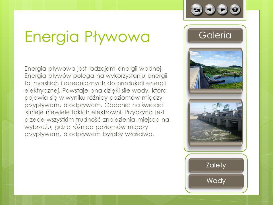 Energia Pływowa Energia pływowa jest rodzajem energii wodnej. Energia pływów polega na wykorzystaniu energii fal morskich i oceanicznych do produkcji