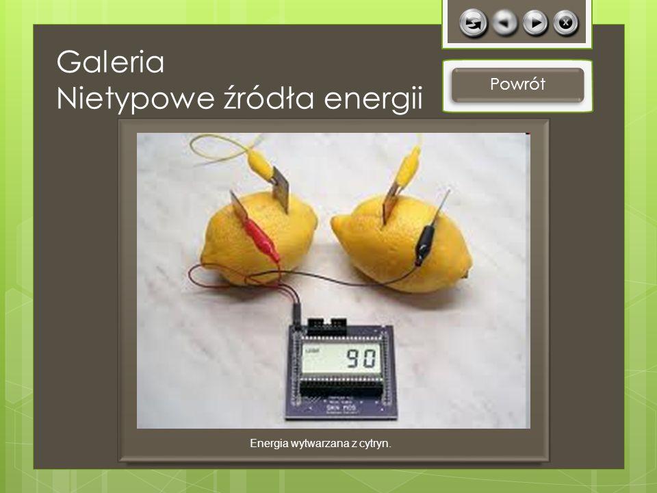 Galeria Nietypowe źródła energii Powrót Energia wytwarzana z cytryn.