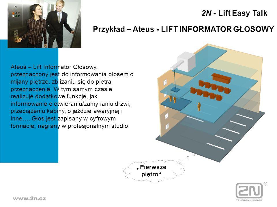 Ateus – Lift Informator Głosowy, przeznaczony jest do informowania głosem o mijany piętrze, zbliżaniu się do pietra przeznaczenia. W tym samym czasie