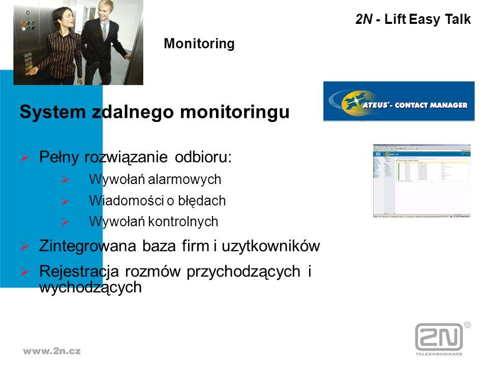 System zdalnego monitoringu Pełny rozwiązanie odbioru: Wywołań alarmowych Wiadomości o błędach Wywołań kontrolnych Zintegrowana baza firm i uzytkownik