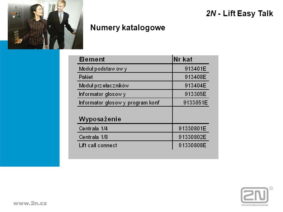 Numery katalogowe 2N - Lift Easy Talk