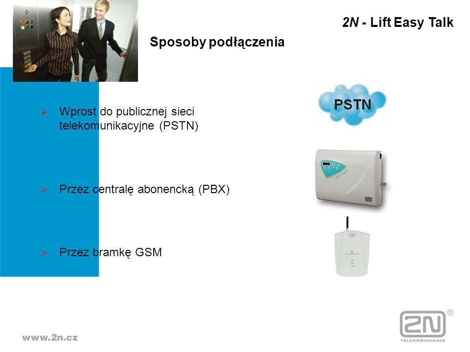 Sposoby podłączenia Wprost do publicznej sieci telekomunikacyjne (PSTN) Przez centralę abonencką (PBX) Przez bramkę GSM 2N - Lift Easy Talk