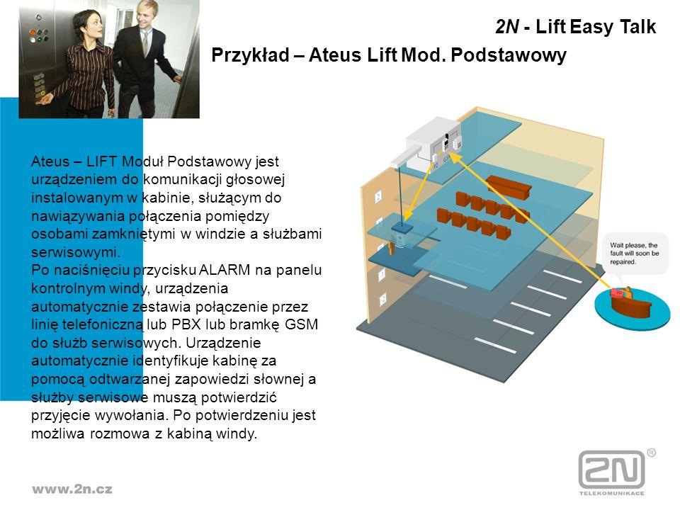 Ateus – LIFT Moduł Podstawowy jest urządzeniem do komunikacji głosowej instalowanym w kabinie, służącym do nawiązywania połączenia pomiędzy osobami za