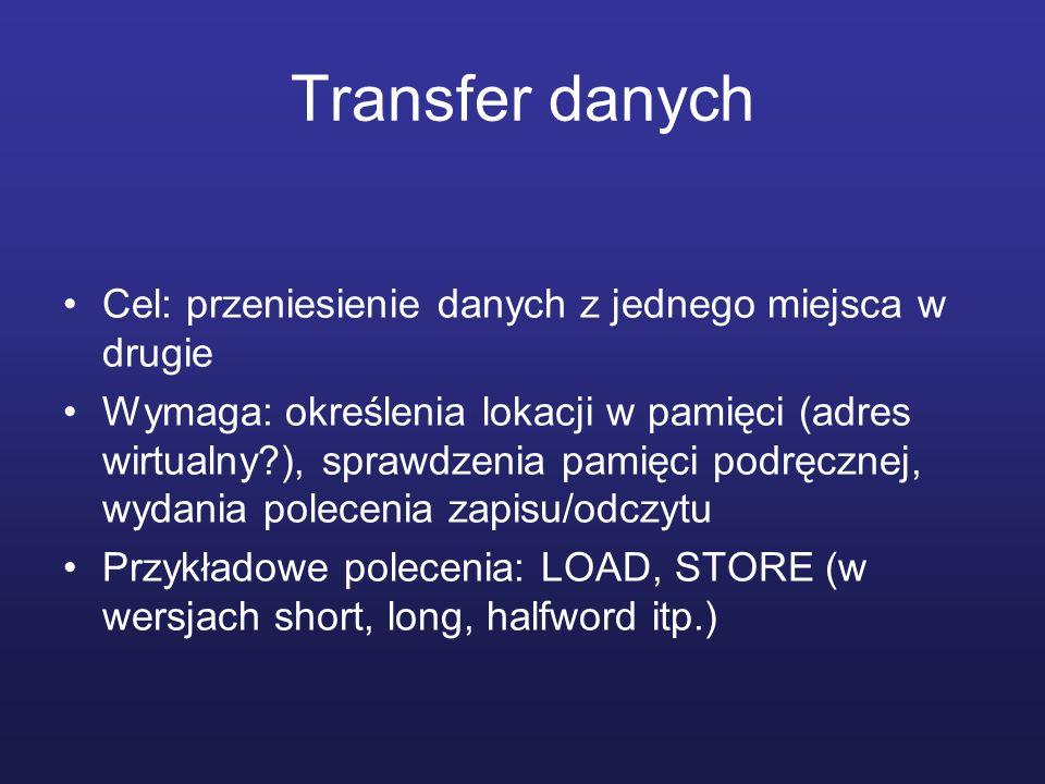 Transfer danych Cel: przeniesienie danych z jednego miejsca w drugie Wymaga: określenia lokacji w pamięci (adres wirtualny?), sprawdzenia pamięci podr