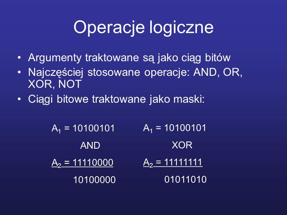 Operacje logiczne Argumenty traktowane są jako ciąg bitów Najczęściej stosowane operacje: AND, OR, XOR, NOT Ciągi bitowe traktowane jako maski: A 1 =