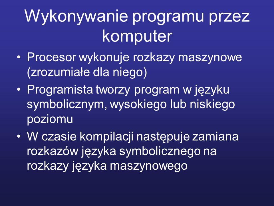Wykonywanie programu przez komputer Procesor wykonuje rozkazy maszynowe (zrozumiałe dla niego) Programista tworzy program w języku symbolicznym, wysok