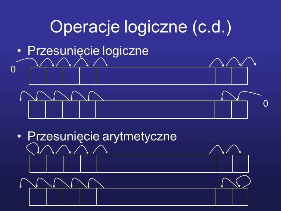Operacje logiczne (c.d.) Przesunięcie logiczne Przesunięcie arytmetyczne 0 0