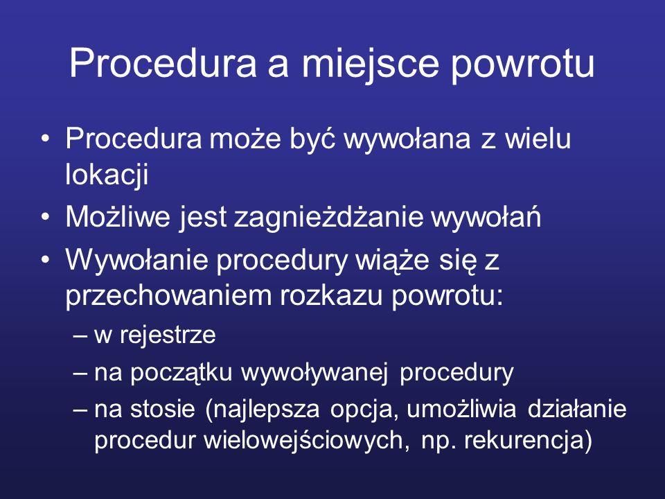 Procedura a miejsce powrotu Procedura może być wywołana z wielu lokacji Możliwe jest zagnieżdżanie wywołań Wywołanie procedury wiąże się z przechowani