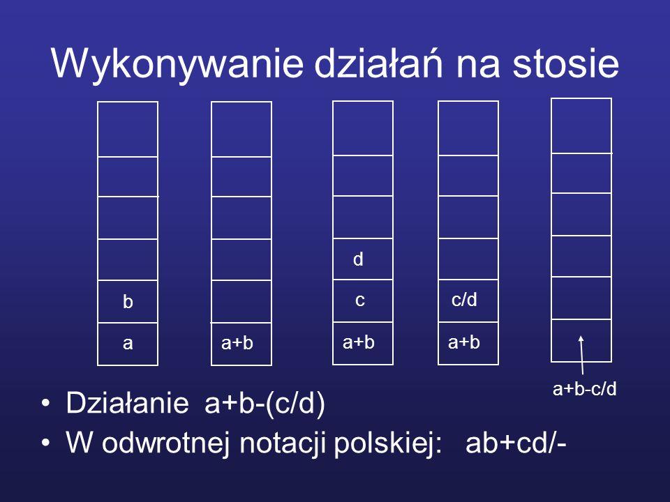 Wykonywanie działań na stosie Działanie a+b-(c/d) W odwrotnej notacji polskiej: ab+cd/- a b a+b c d c/d a+b-c/d