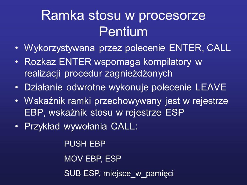Ramka stosu w procesorze Pentium Wykorzystywana przez polecenie ENTER, CALL Rozkaz ENTER wspomaga kompilatory w realizacji procedur zagnieżdżonych Dzi