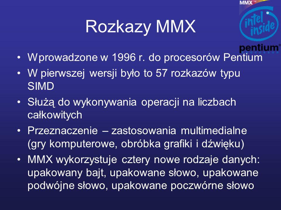 Rozkazy MMX Wprowadzone w 1996 r. do procesorów Pentium W pierwszej wersji było to 57 rozkazów typu SIMD Służą do wykonywania operacji na liczbach cał