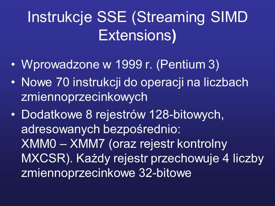 Instrukcje SSE (Streaming SIMD Extensions) Wprowadzone w 1999 r. (Pentium 3) Nowe 70 instrukcji do operacji na liczbach zmiennoprzecinkowych Dodatkowe