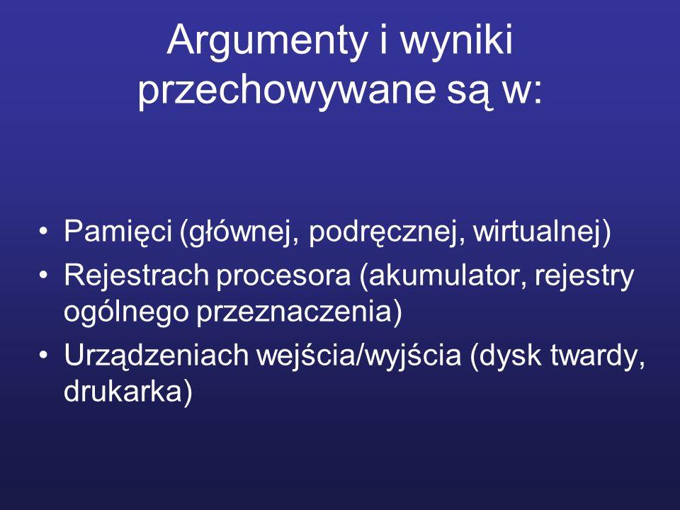 Argumenty i wyniki przechowywane są w: Pamięci (głównej, podręcznej, wirtualnej) Rejestrach procesora (akumulator, rejestry ogólnego przeznaczenia) Ur