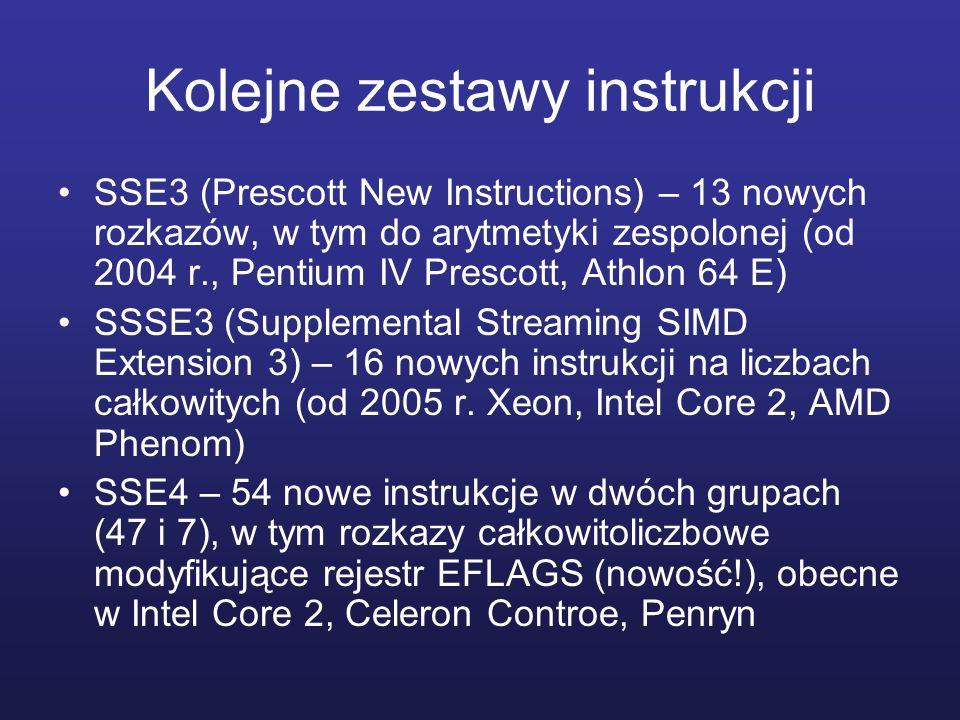 Kolejne zestawy instrukcji SSE3 (Prescott New Instructions) – 13 nowych rozkazów, w tym do arytmetyki zespolonej (od 2004 r., Pentium IV Prescott, Ath