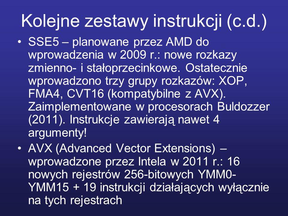 Kolejne zestawy instrukcji (c.d.) SSE5 – planowane przez AMD do wprowadzenia w 2009 r.: nowe rozkazy zmienno- i stałoprzecinkowe. Ostatecznie wprowadz