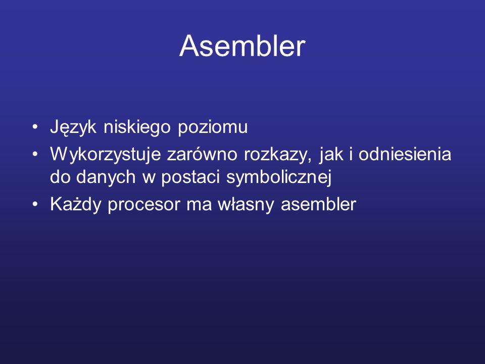 Asembler Język niskiego poziomu Wykorzystuje zarówno rozkazy, jak i odniesienia do danych w postaci symbolicznej Każdy procesor ma własny asembler