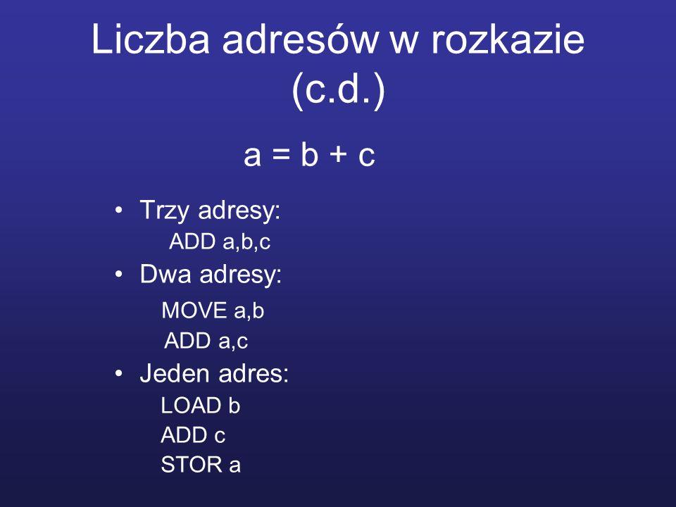 Liczba adresów w rozkazie (c.d.) Trzy adresy: ADD a,b,c Dwa adresy: MOVE a,b ADD a,c Jeden adres: LOAD b ADD c STOR a a = b + c