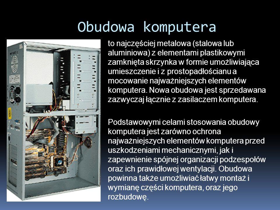 W obudowie komputera zainstalujemy: płytę główną pamięć ROM pamięć CMOS pamięć RAM Procesor zasilacz kartę graficzną kartę dźwiękową dysk twardy napęd dyskietek