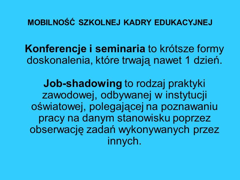 MOBILNOŚĆ SZKOLNEJ KADRY EDUKACYJNEJ Konferencje i seminaria to krótsze formy doskonalenia, które trwają nawet 1 dzień. Job-shadowing to rodzaj prakty