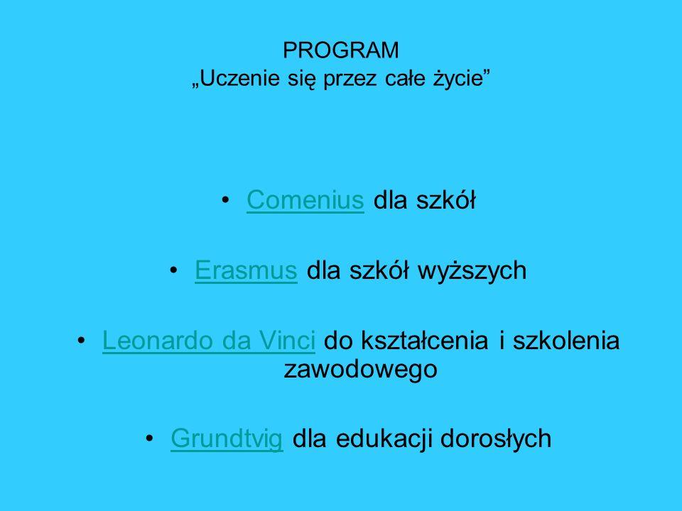 PROGRAM Uczenie się przez całe życie Comenius dla szkółComenius Erasmus dla szkół wyższychErasmus Leonardo da Vinci do kształcenia i szkolenia zawodow