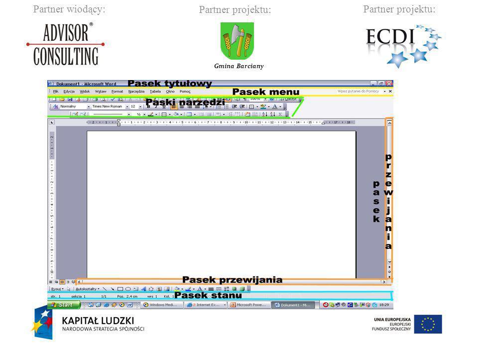 Partner wiodący:Partner projektu: Gmina Barciany Praca z oknami Okno z widokiem szczegółów plików