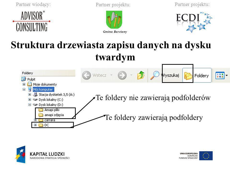Partner wiodący:Partner projektu: Gmina Barciany Struktura drzewiasta zapisu danych na dysku twardym Te foldery nie zawierają podfolderów Te foldery z