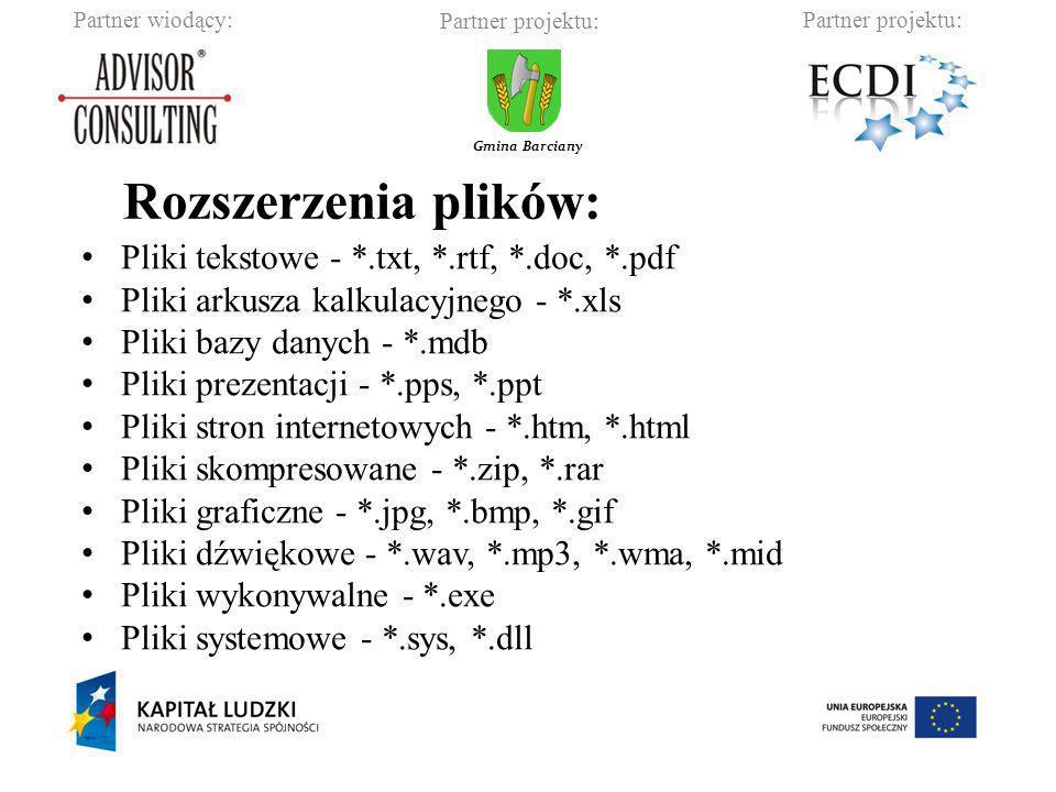 Partner wiodący:Partner projektu: Gmina Barciany Pliki tekstowe - *.txt, *.rtf, *.doc, *.pdf Pliki arkusza kalkulacyjnego - *.xls Pliki bazy danych -