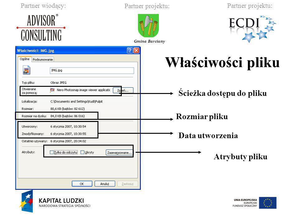 Partner wiodący:Partner projektu: Gmina Barciany Właściwości pliku Ścieżka dostępu do pliku Rozmiar pliku Data utworzenia Atrybuty pliku