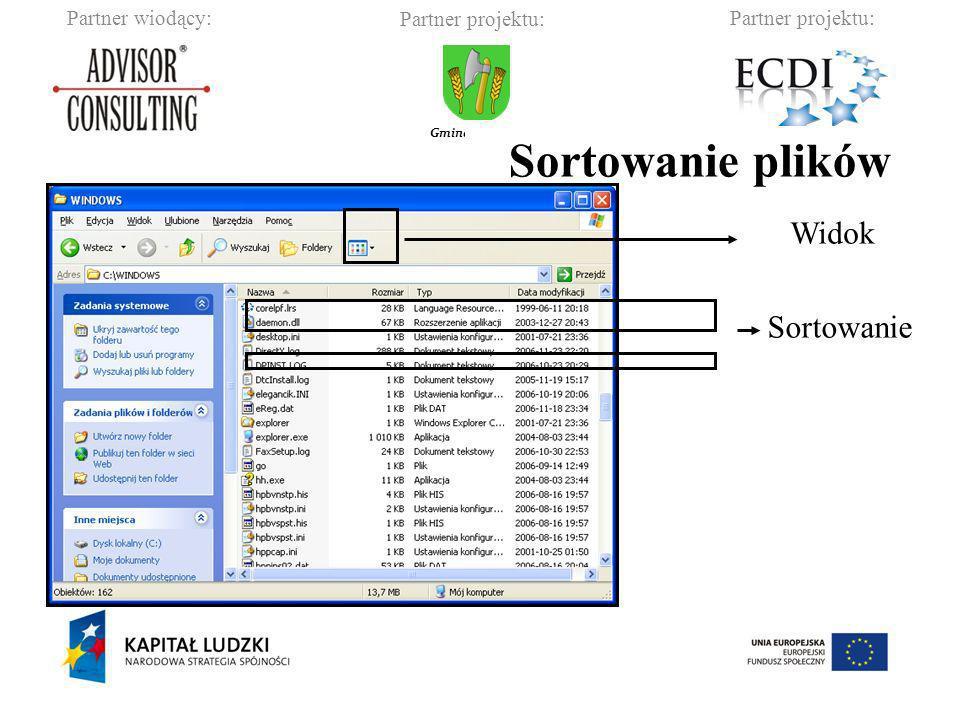 Partner wiodący:Partner projektu: Gmina Barciany Kopiowanie, przenoszenie plików: Zaznaczanie plików: kliknięcie myszką.