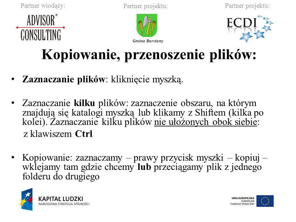 Partner wiodący:Partner projektu: Gmina Barciany Kopiowanie ctrl + c