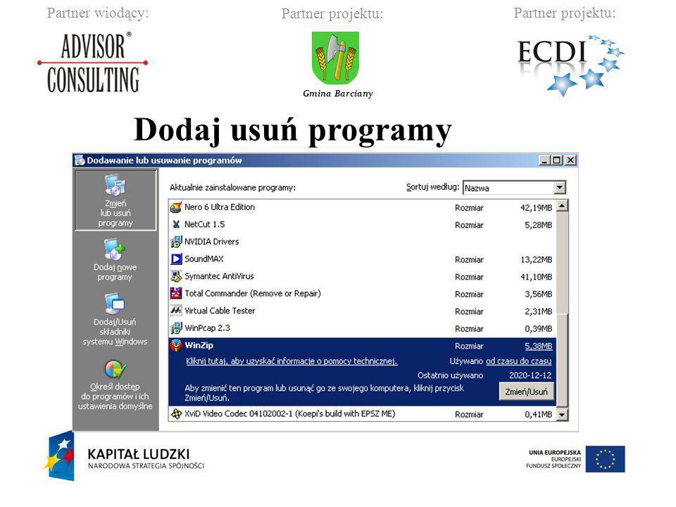 Partner wiodący:Partner projektu: Gmina Barciany Dodaj usuń programy