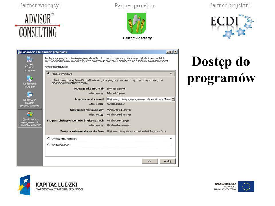 Partner wiodący:Partner projektu: Gmina Barciany Dostęp do programów