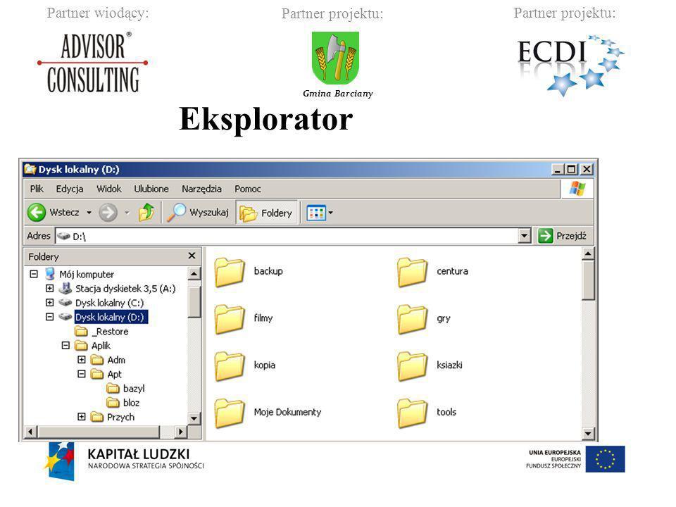 Partner wiodący:Partner projektu: Gmina Barciany Podstawowe skróty klawiszowe pomoc systemu Windows zaznacz wszystko kopiuj wytnij wklej zaznaczanie dowolnych plików i folderów zaznaczanie plików grupami F1 Ctrl+a Ctrl+c Ctrl+x Ctrl+v Ctrl+LPM Shift+LPM