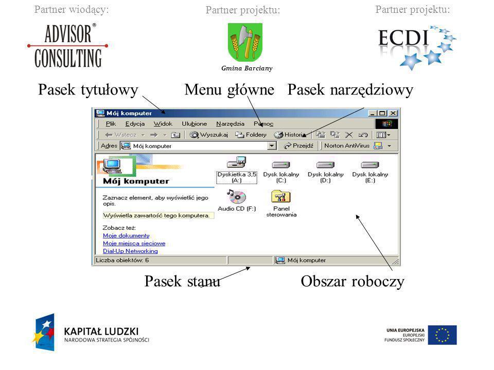 Partner wiodący:Partner projektu: Gmina Barciany Otwieranie edytora tekstu wbudowanego w system operacyjny: start – programy – akcesoria – notatnik/WordPad.