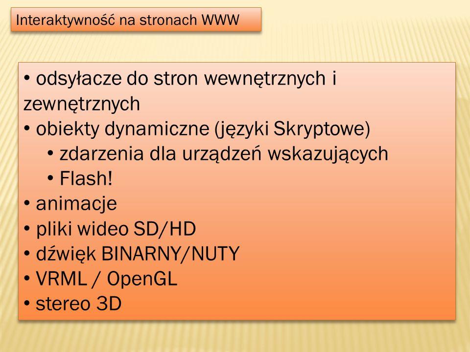 Interaktywność na stronach WWW odsyłacze do stron wewnętrznych i zewnętrznych obiekty dynamiczne (języki Skryptowe) zdarzenia dla urządzeń wskazującyc