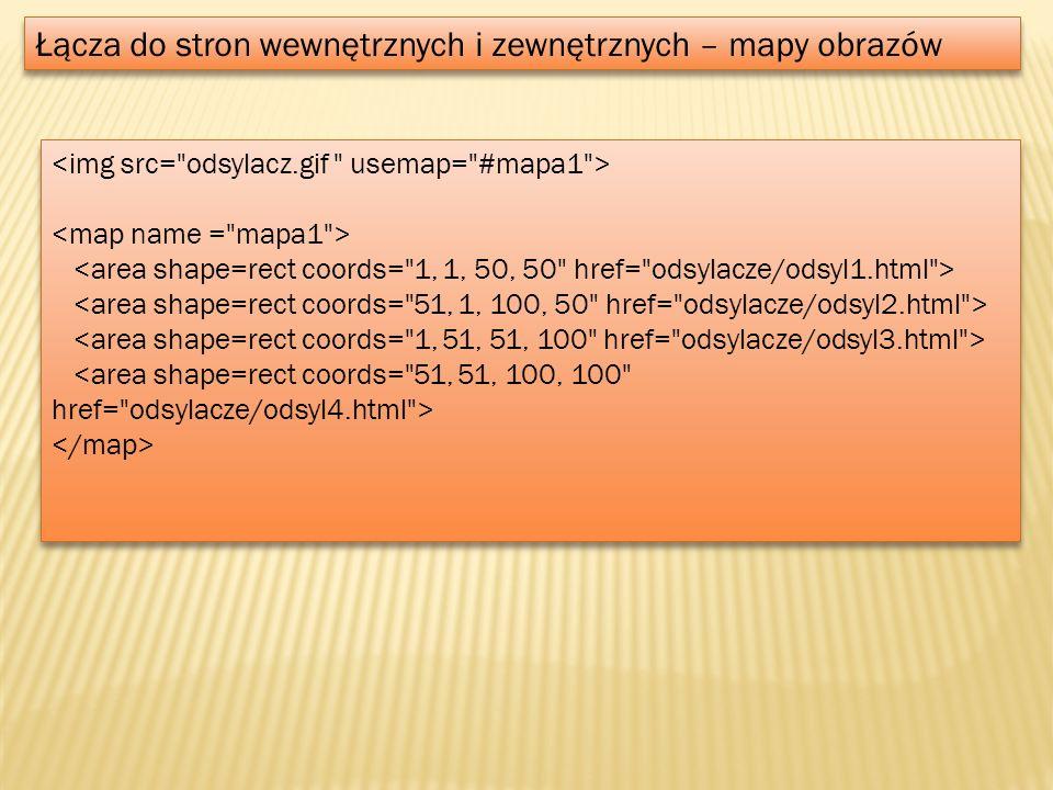 Obiekty dynamiczne – JavaScript var MenuBar1 = new Spry.Widget.MenuBar( MenuBar1 , {imgDown: SpryAssets/SpryMenuBarDownHover.gif , imgRight: SpryAssets/SpryMenuBarRightHover.gif }); var MenuBar1 = new Spry.Widget.MenuBar( MenuBar1 , {imgDown: SpryAssets/SpryMenuBarDownHover.gif , imgRight: SpryAssets/SpryMenuBarRightHover.gif });