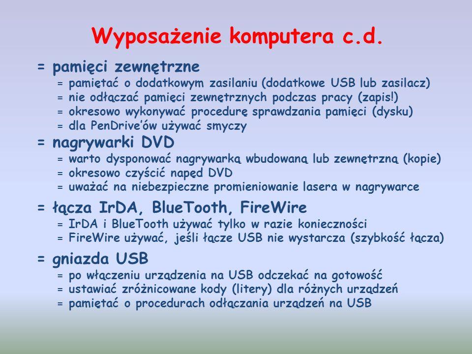 Formaty zapisów na płytkach CD i DVD CD Audio -> tylko dźwięk w formacie audio (WAV) DVD Video -> filmy DVD (folder VIDEO_TS) ISO (ROM) -> dowolne dane w plikach poniżej 2GB UDF (ROM) -> dane w plikach dowolnych rozmiarów Płytki CD -> 700 MB Płytki DVD -> 4,7 GB Płytki DVD DL -> 8,5 GB Płytki Blu-Ray -> 25 GB Płytki Blu-Ray DL -> 50 GB Pojemność informacyjna płytek