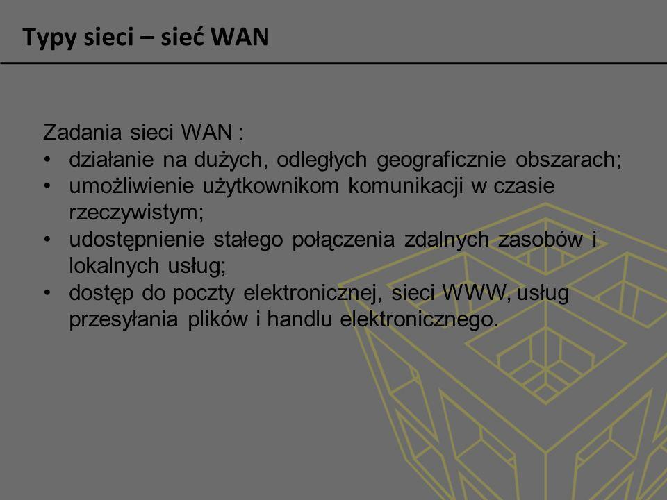 Typy sieci – sieć WAN Najpowszechniej stosowane technologie sieci WAN: sieci komutowane sieci ISDN (ang.